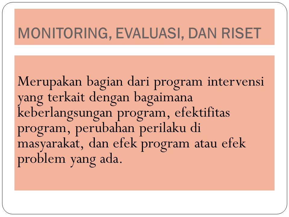 MONITORING, EVALUASI, DAN RISET