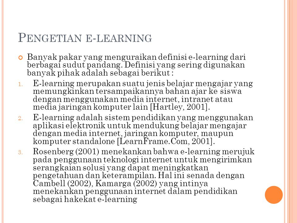Pengetian e-learning