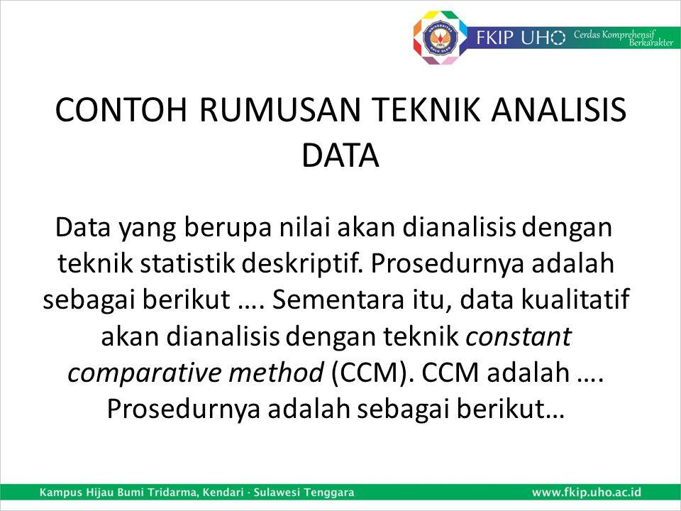 CONTOH RUMUSAN TEKNIK ANALISIS DATA