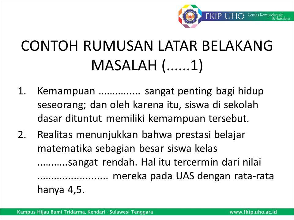 CONTOH RUMUSAN LATAR BELAKANG MASALAH (......1)