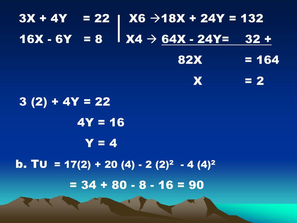16X - 6Y = 8 X4  64X - 24Y= 32 + 82X = 164 X = 2 3 (2) + 4Y = 22