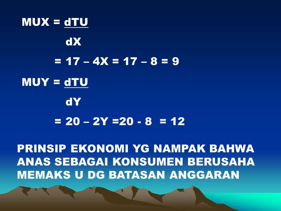 MUX = dTU dX. = 17 – 4X = 17 – 8 = 9. MUY = dTU. dY. = 20 – 2Y =20 - 8 = 12.
