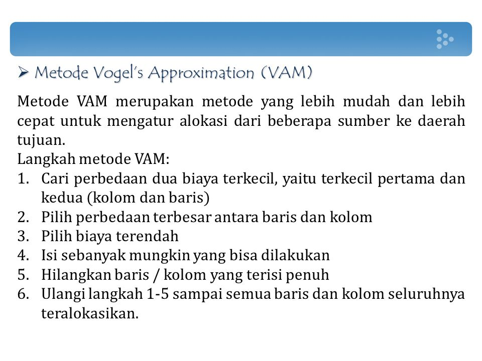 Metode Vogel's Approximation (VAM)