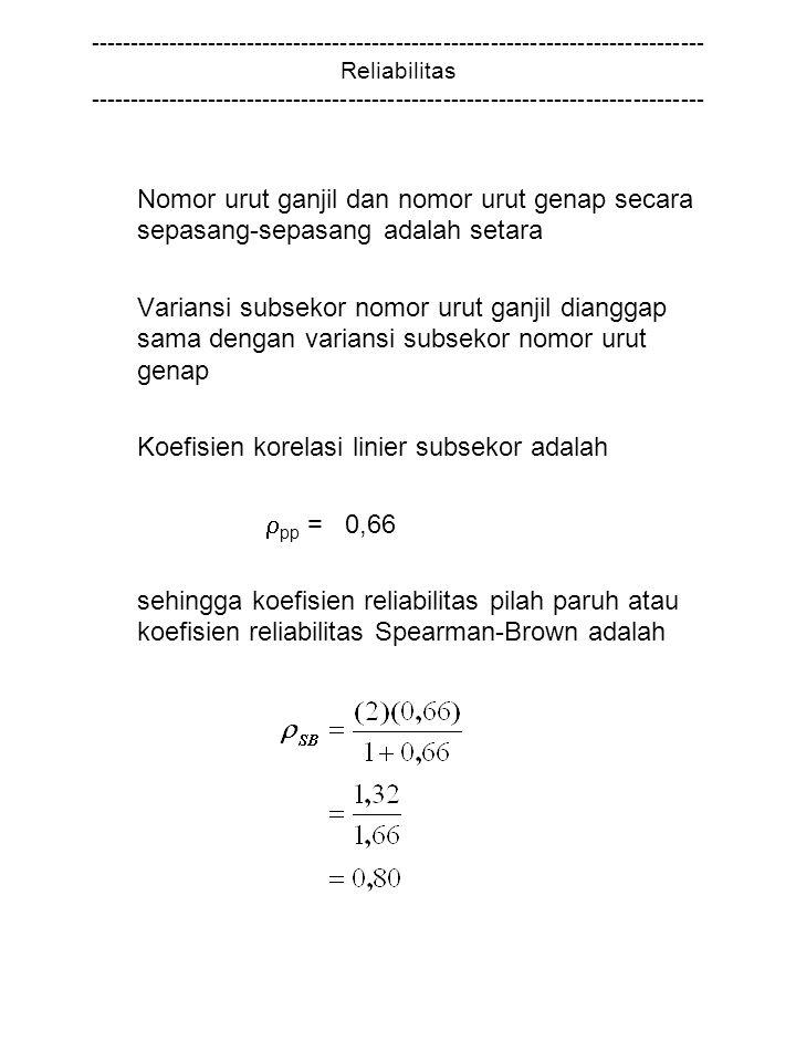 Koefisien korelasi linier subsekor adalah pp = 0,66