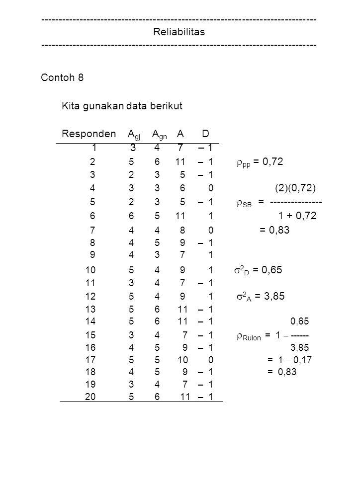 Kita gunakan data berikut Responden Agj Agn A D 1 3 4 7 – 1