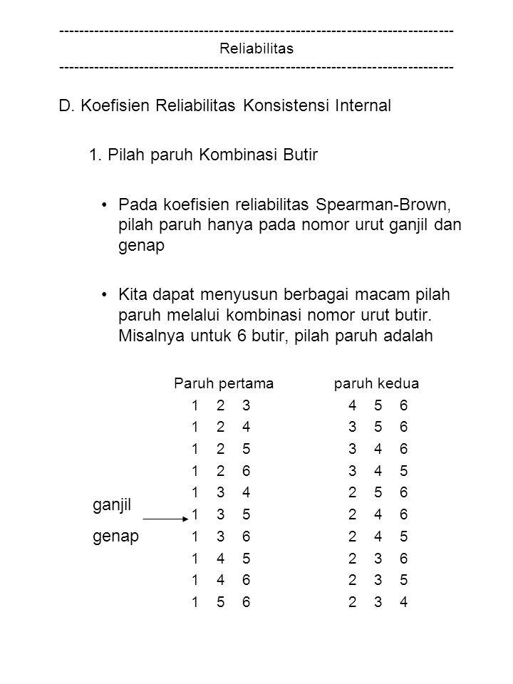 D. Koefisien Reliabilitas Konsistensi Internal