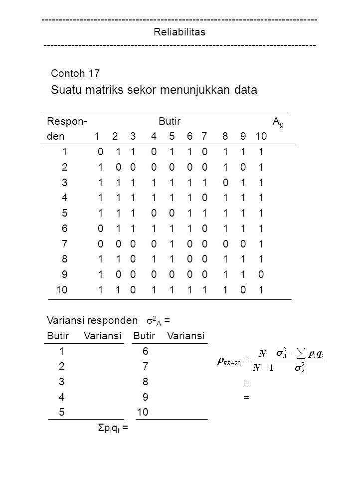 Suatu matriks sekor menunjukkan data