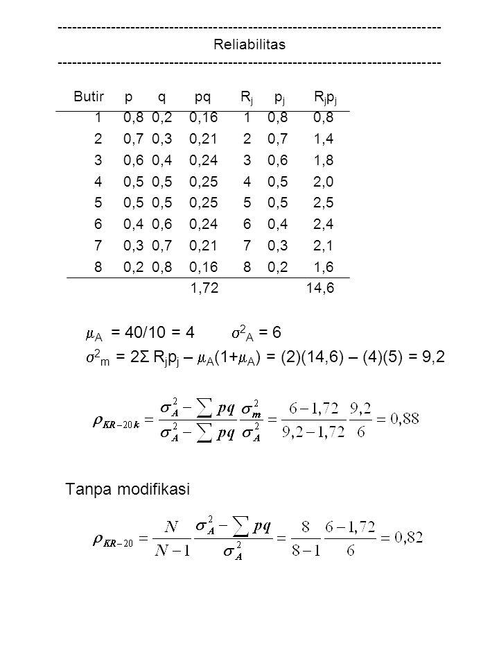 2m = 2Σ Rjpj – A(1+A) = (2)(14,6) – (4)(5) = 9,2