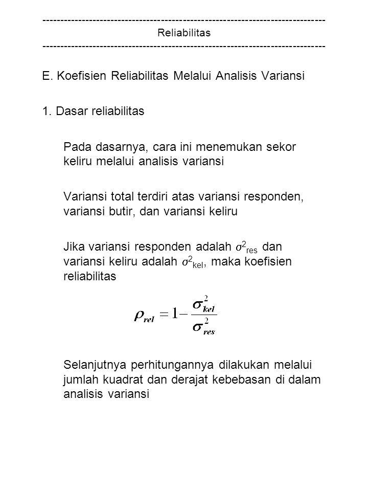 E. Koefisien Reliabilitas Melalui Analisis Variansi