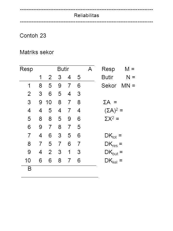 Contoh 23 Matriks sekor Resp Butir A Resp M = 1 2 3 4 5 Butir N =