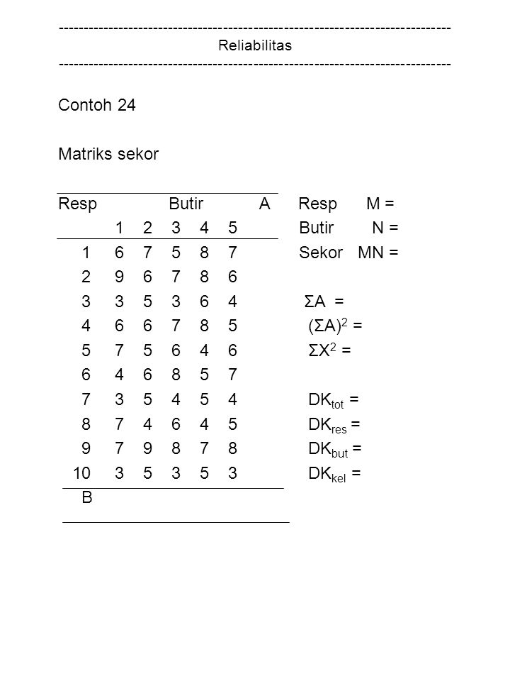Contoh 24 Matriks sekor Resp Butir A Resp M = 1 2 3 4 5 Butir N =