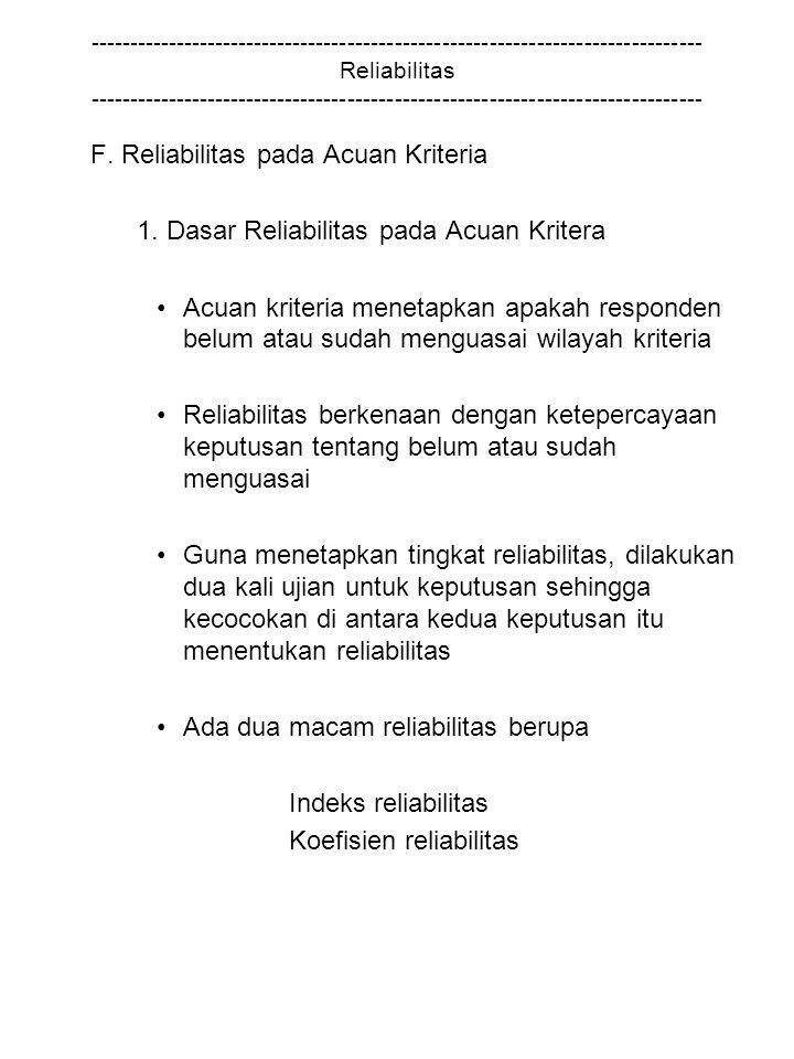 F. Reliabilitas pada Acuan Kriteria