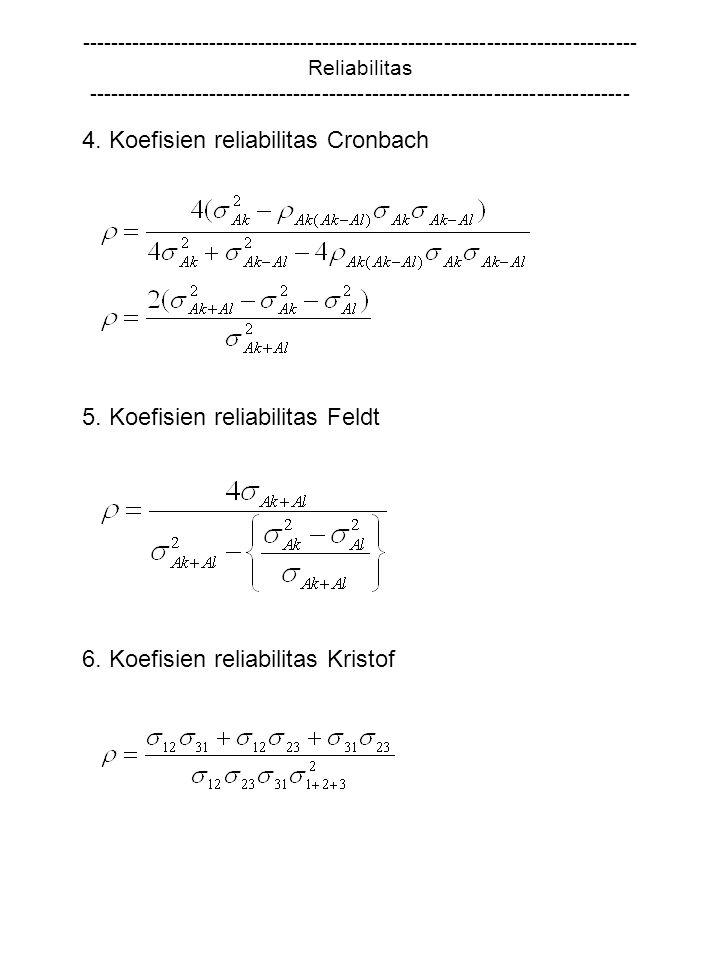 4. Koefisien reliabilitas Cronbach