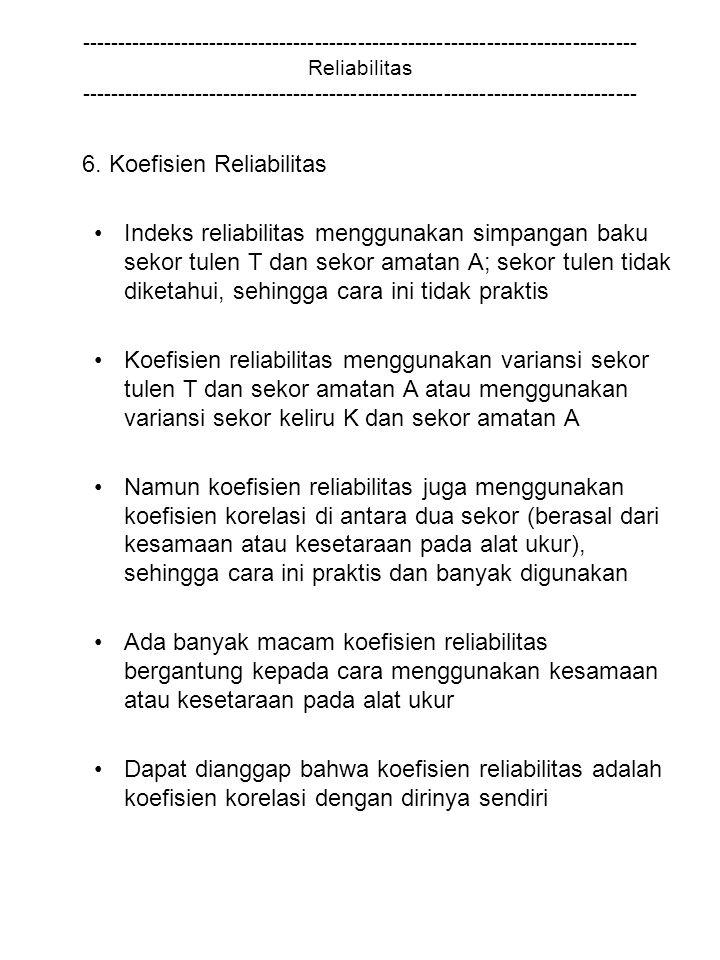 6. Koefisien Reliabilitas