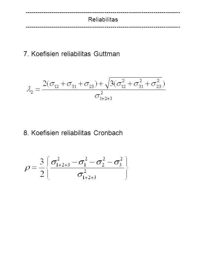 7. Koefisien reliabilitas Guttman