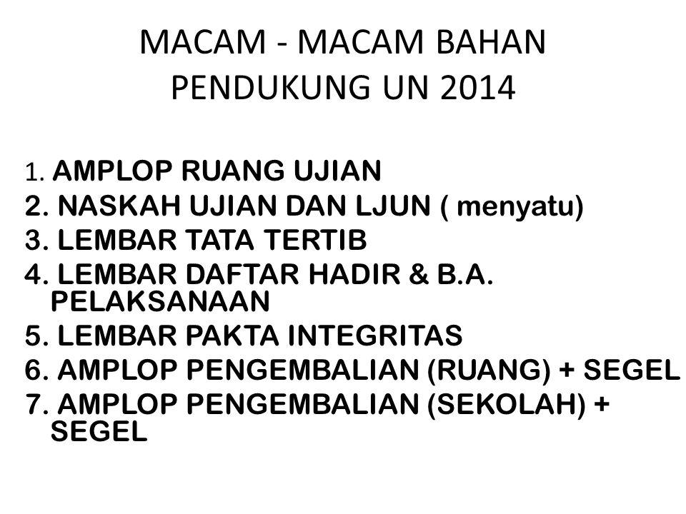 MACAM - MACAM BAHAN PENDUKUNG UN 2014
