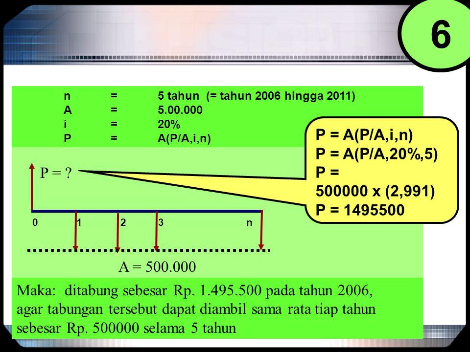 6 P = A(P/A,i,n) P = A(P/A,20%,5) P = 500000 x (2,991) P = 1495500