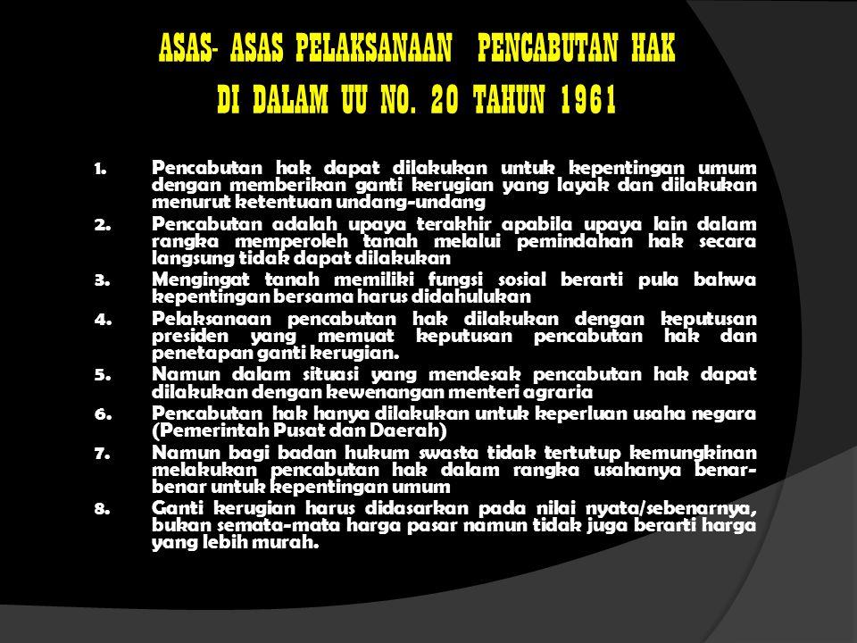 ASAS- ASAS PELAKSANAAN PENCABUTAN HAK DI DALAM UU NO. 20 TAHUN 1961