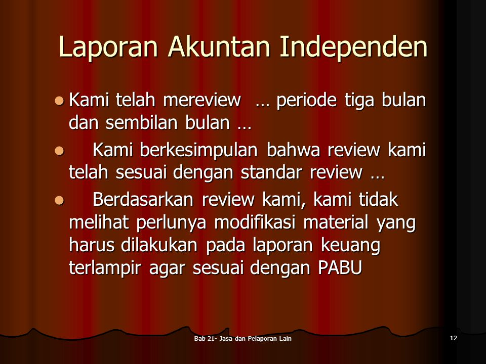 Laporan Akuntan Independen