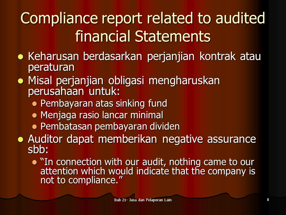 Compliance report related to audited financial Statements
