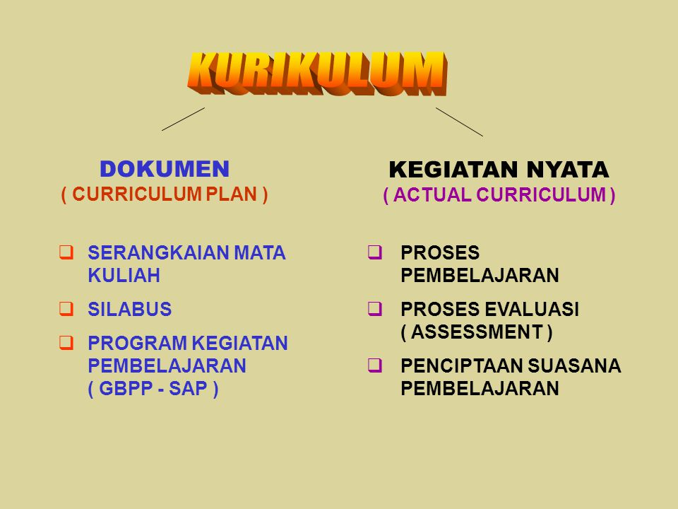 DOKUMEN ( CURRICULUM PLAN ) KEGIATAN NYATA ( ACTUAL CURRICULUM )