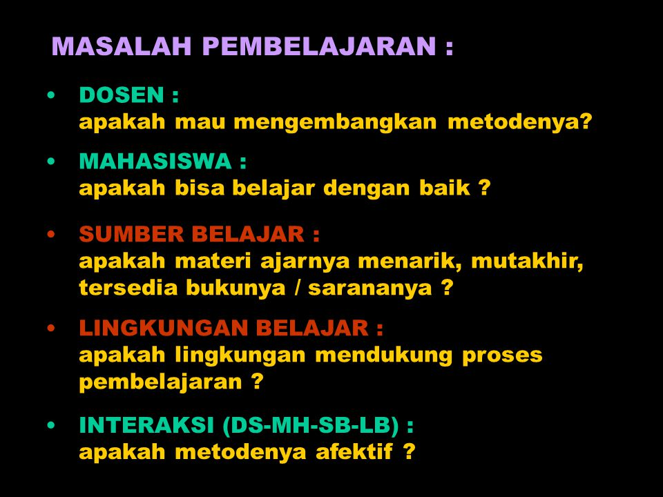 MASALAH PEMBELAJARAN :