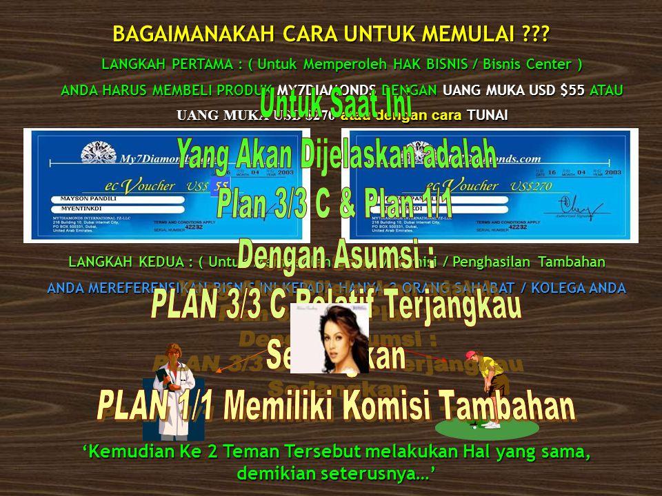 Yang Akan Dijelaskan adalah Plan 3/3 C & Plan 1/1 Dengan Asumsi :