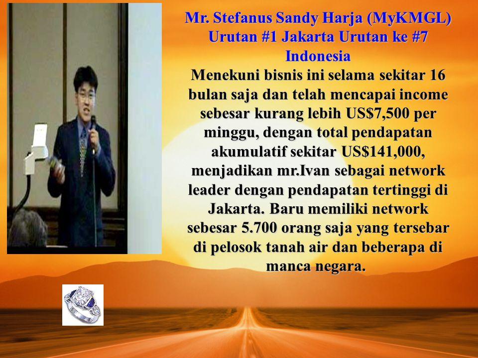 Mr. Stefanus Sandy Harja (MyKMGL) Urutan #1 Jakarta Urutan ke #7 Indonesia