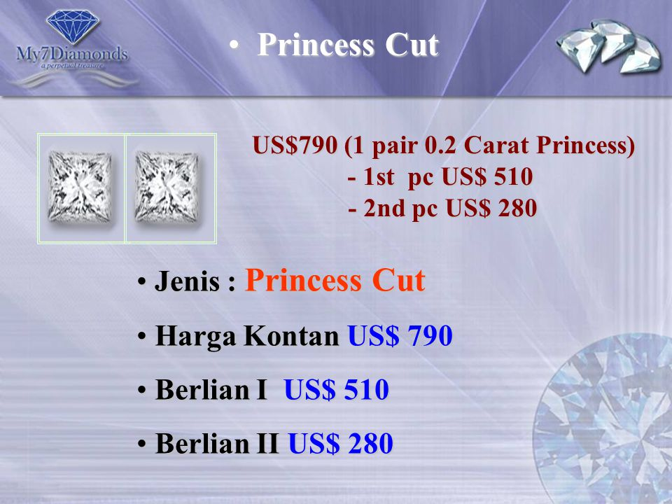 US$790 (1 pair 0.2 Carat Princess)