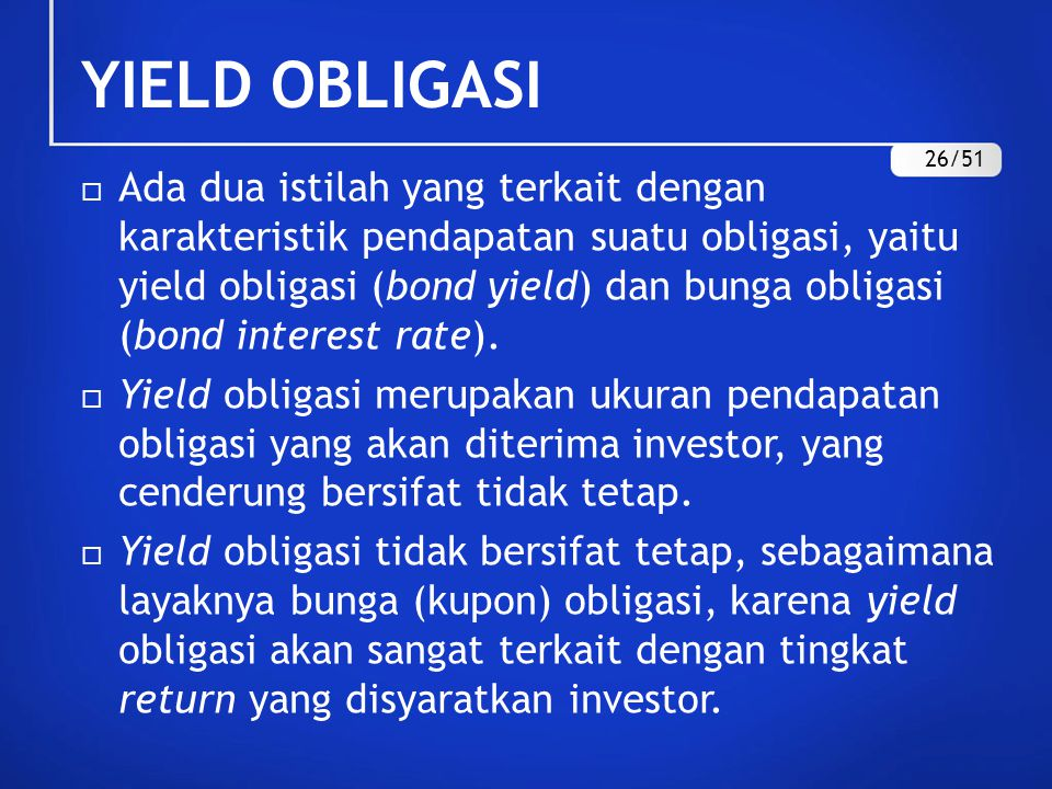 YIELD OBLIGASI 26/51.