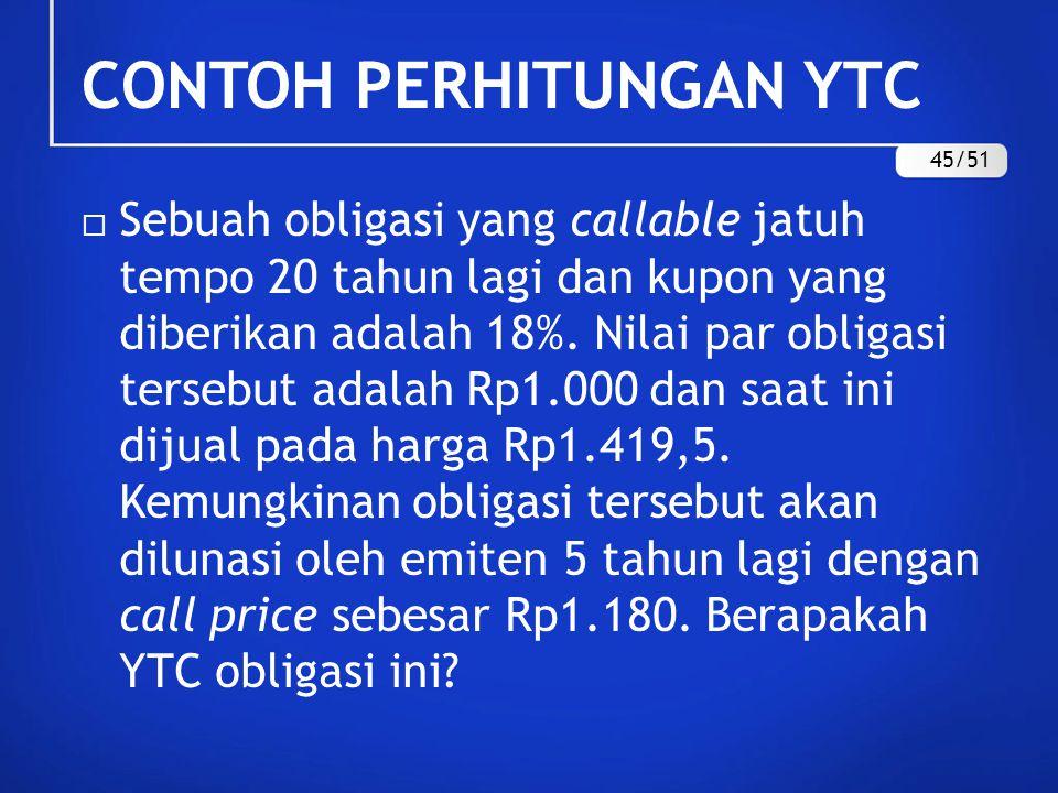 CONTOH PERHITUNGAN YTC 45/51
