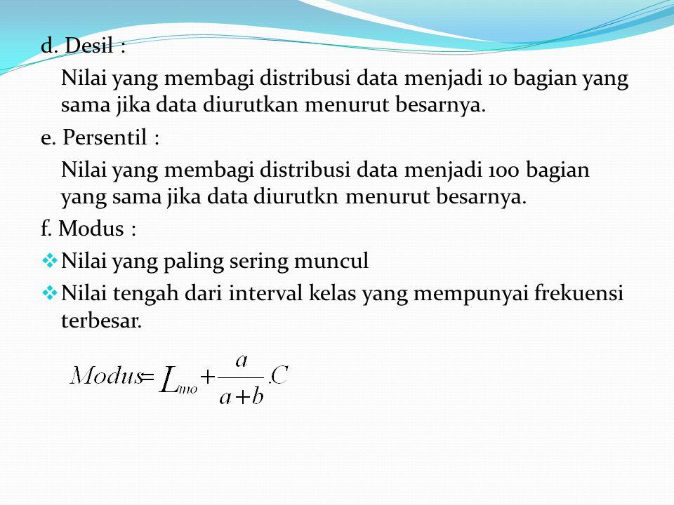 d. Desil : Nilai yang membagi distribusi data menjadi 10 bagian yang sama jika data diurutkan menurut besarnya.