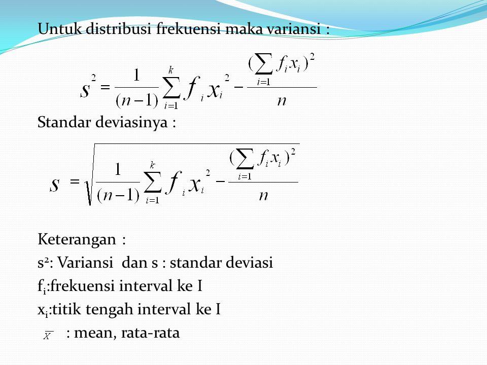 Untuk distribusi frekuensi maka variansi : Standar deviasinya : Keterangan : s2: Variansi dan s : standar deviasi fi:frekuensi interval ke I xi:titik tengah interval ke I : mean, rata-rata