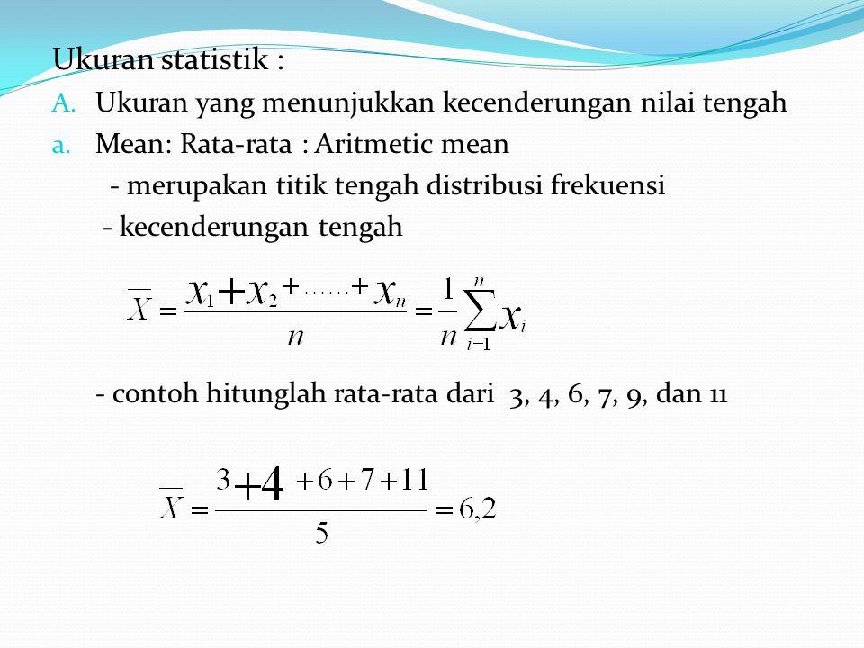 Ukuran statistik : Ukuran yang menunjukkan kecenderungan nilai tengah