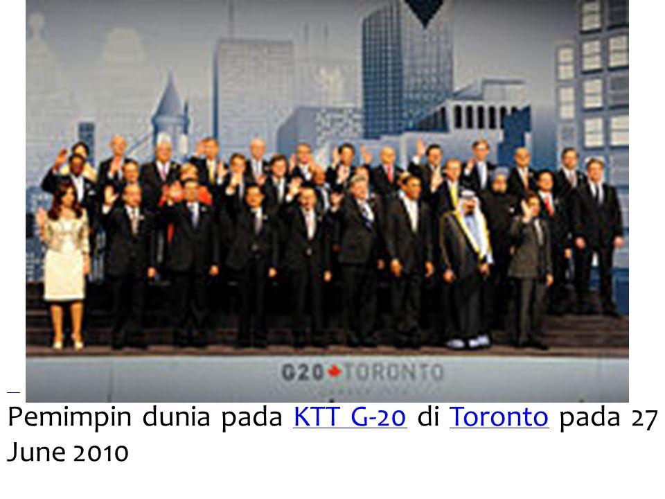 Pemimpin dunia pada KTT G-20 di Toronto pada 27 June 2010