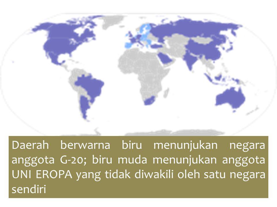 Daerah berwarna biru menunjukan negara anggota G-20; biru muda menunjukan anggota UNI EROPA yang tidak diwakili oleh satu negara sendiri