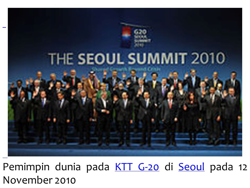 Pemimpin dunia pada KTT G-20 di Seoul pada 12 November 2010