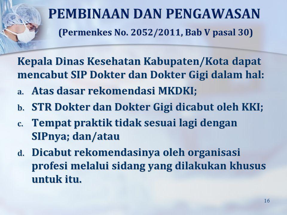 PEMBINAAN DAN PENGAWASAN (Permenkes No. 2052/2011, Bab V pasal 30)