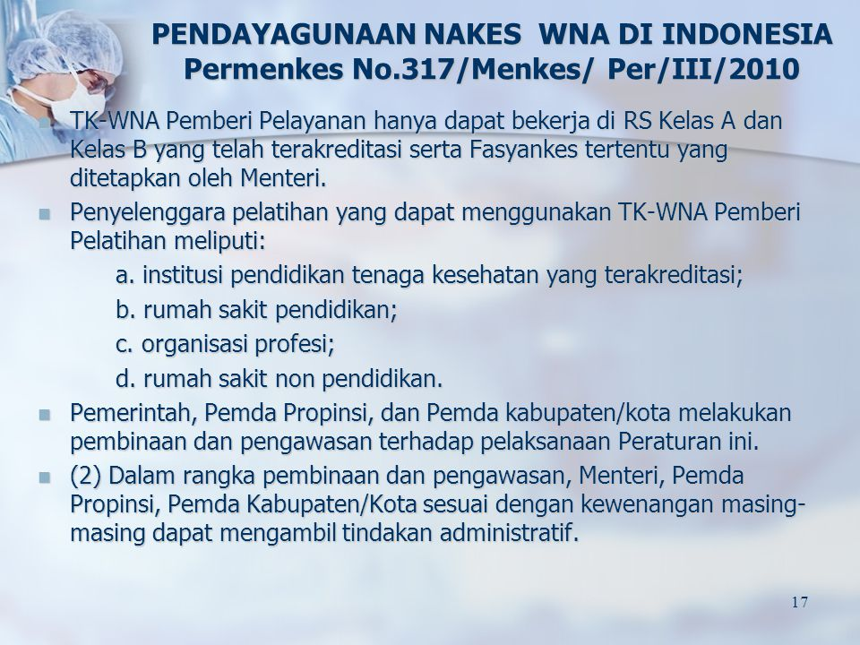 PENDAYAGUNAAN NAKES WNA DI INDONESIA Permenkes No