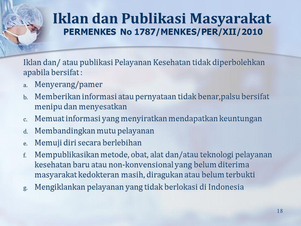Iklan dan Publikasi Masyarakat PERMENKES No 1787/MENKES/PER/XII/2010