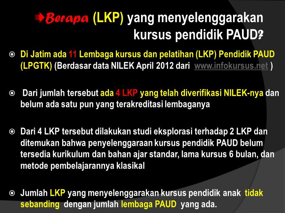 Berapa (LKP) yang menyelenggarakan kursus pendidik PAUD