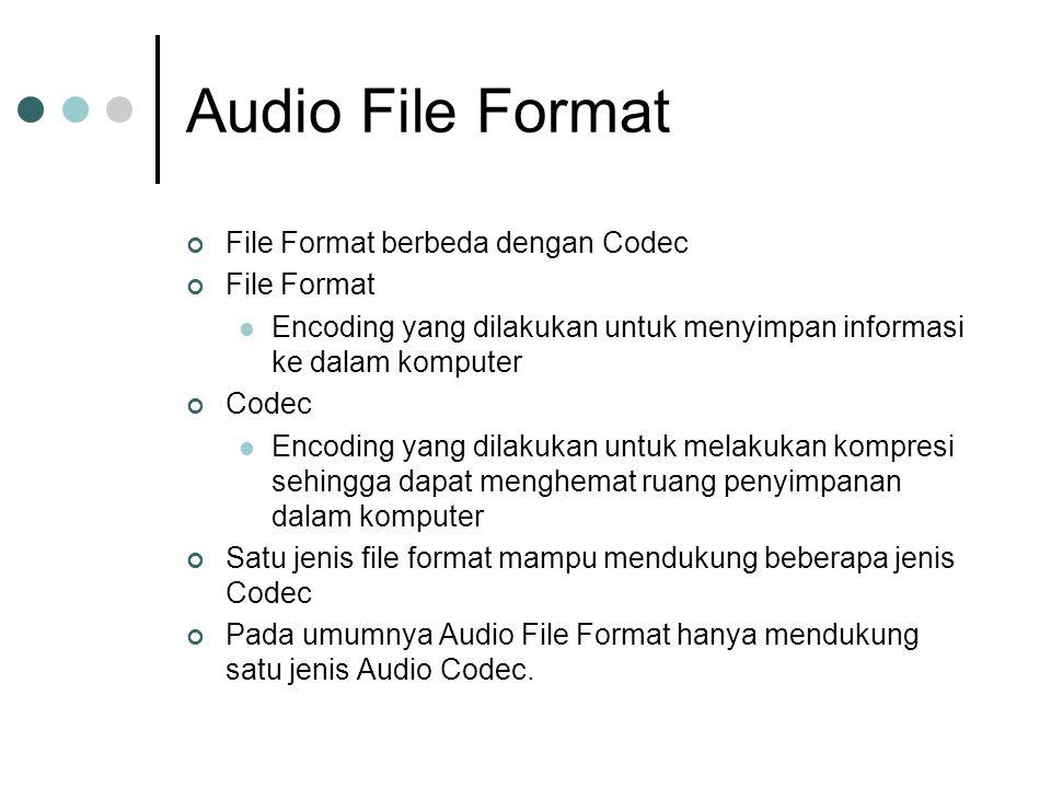 Audio File Format File Format berbeda dengan Codec File Format