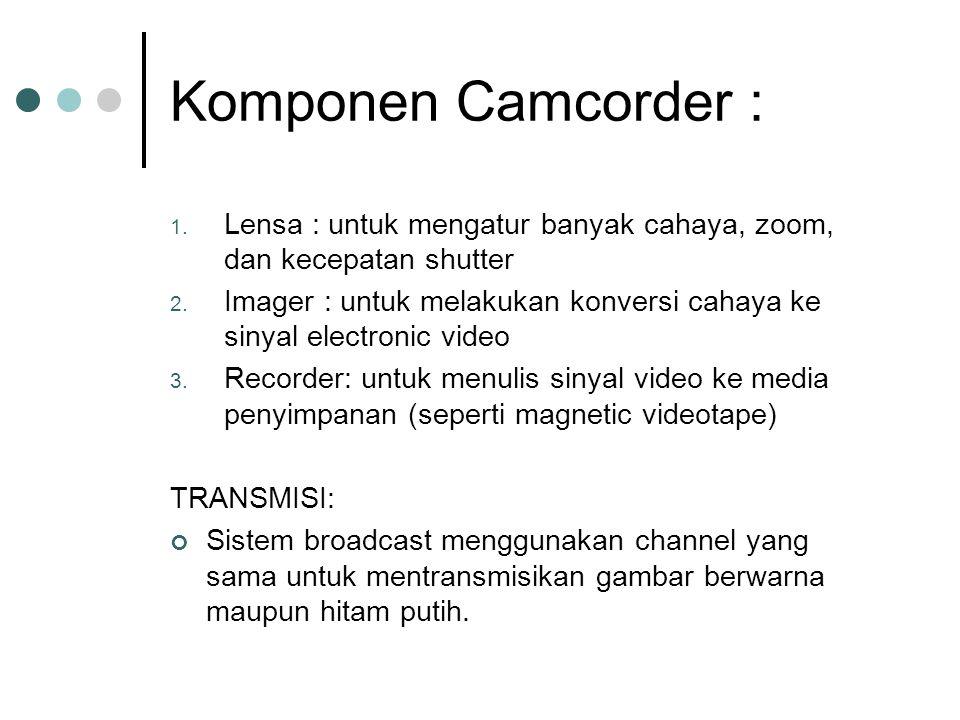 Komponen Camcorder : Lensa : untuk mengatur banyak cahaya, zoom, dan kecepatan shutter.