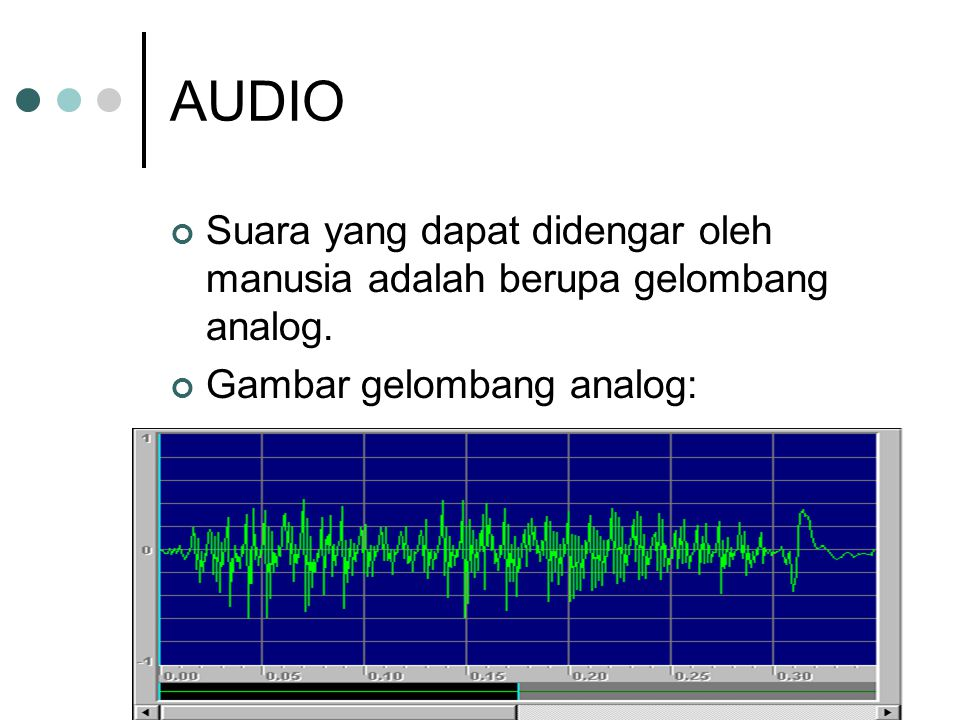 AUDIO Suara yang dapat didengar oleh manusia adalah berupa gelombang analog.