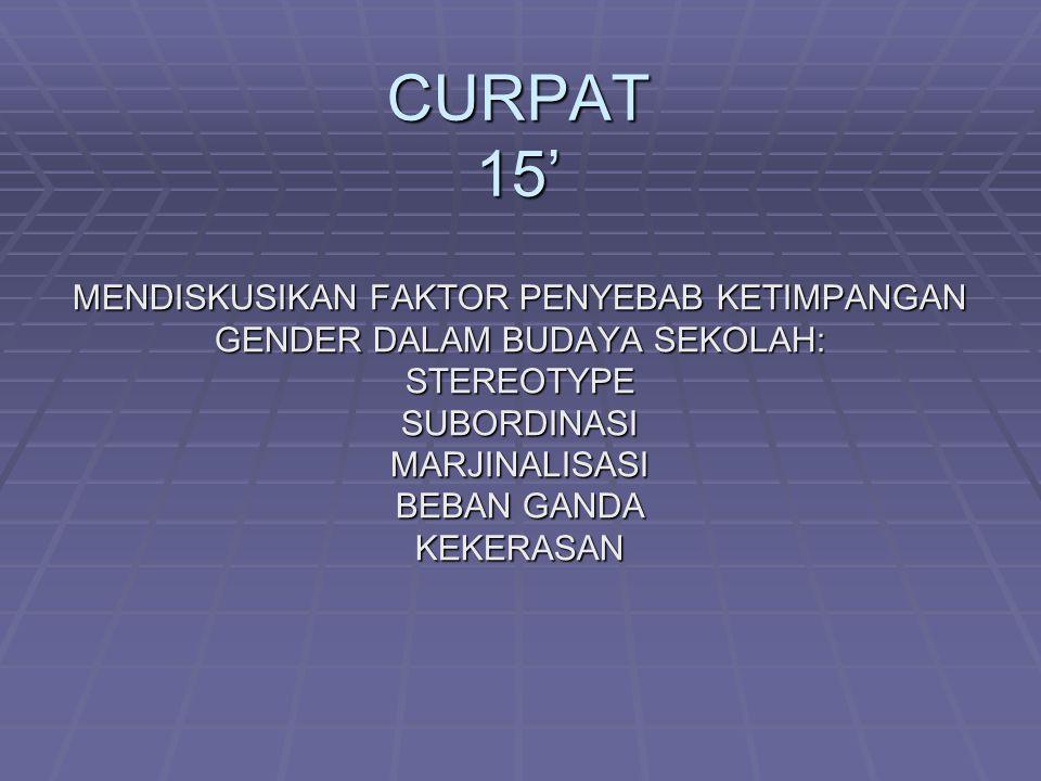CURPAT 15' MENDISKUSIKAN FAKTOR PENYEBAB KETIMPANGAN
