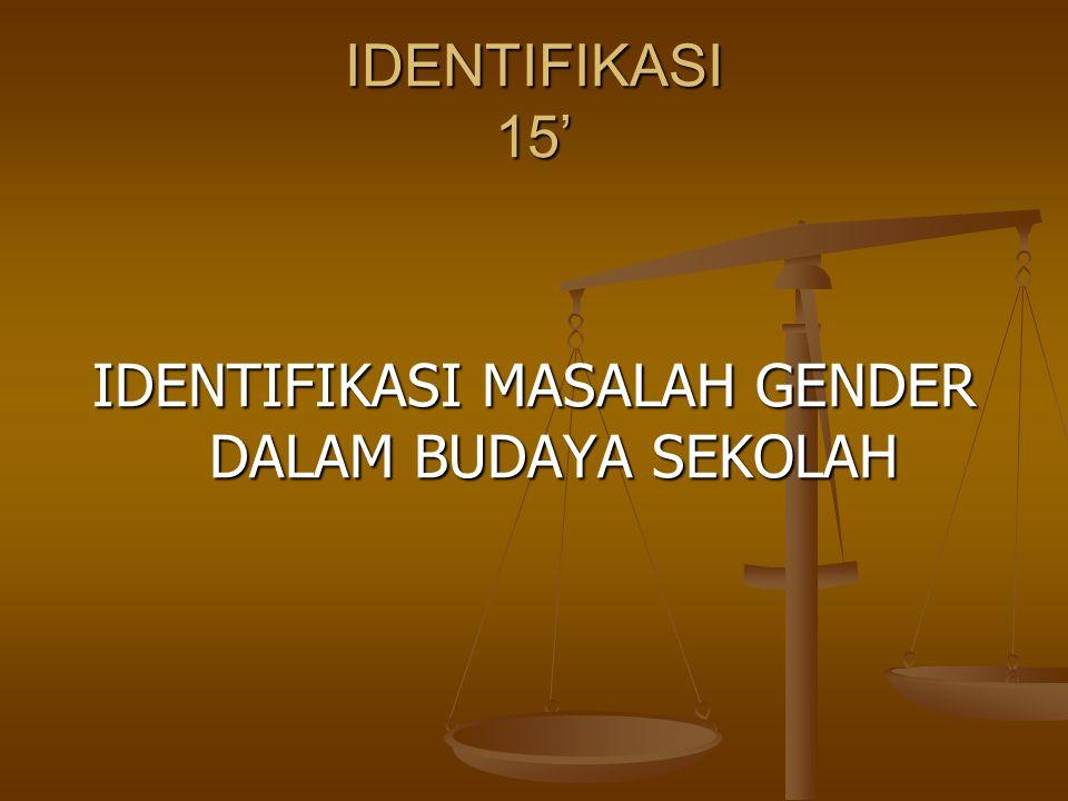 IDENTIFIKASI MASALAH GENDER DALAM BUDAYA SEKOLAH