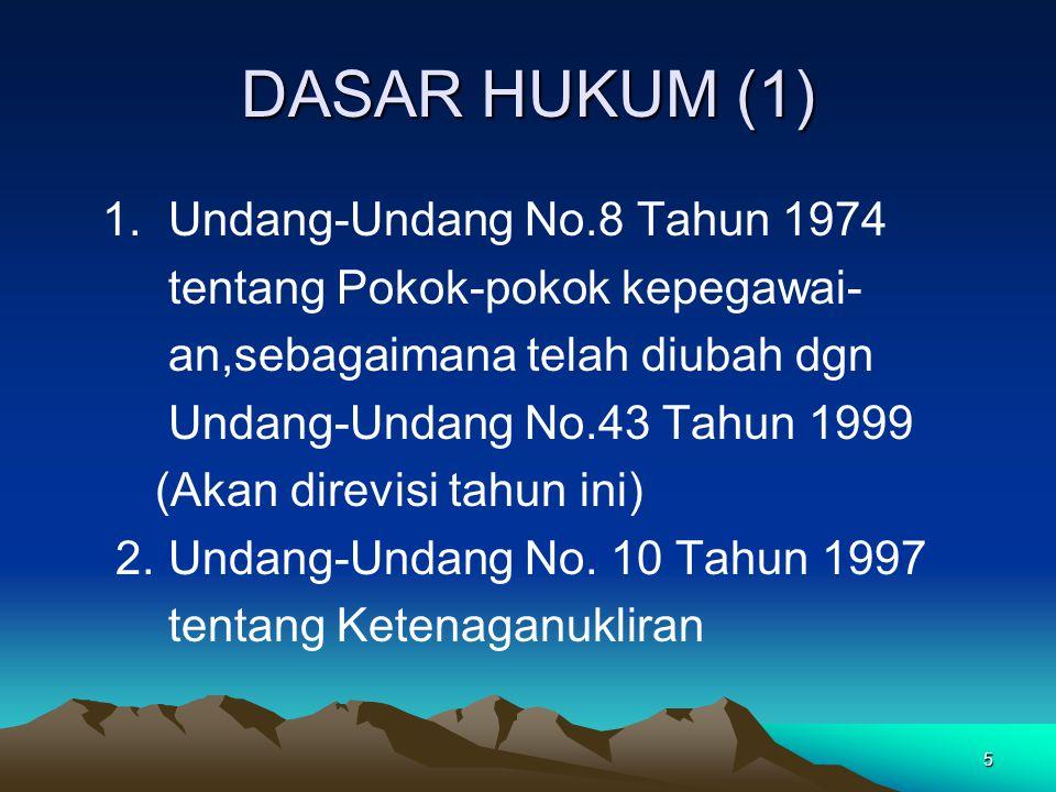 DASAR HUKUM (1) 1. Undang-Undang No.8 Tahun 1974