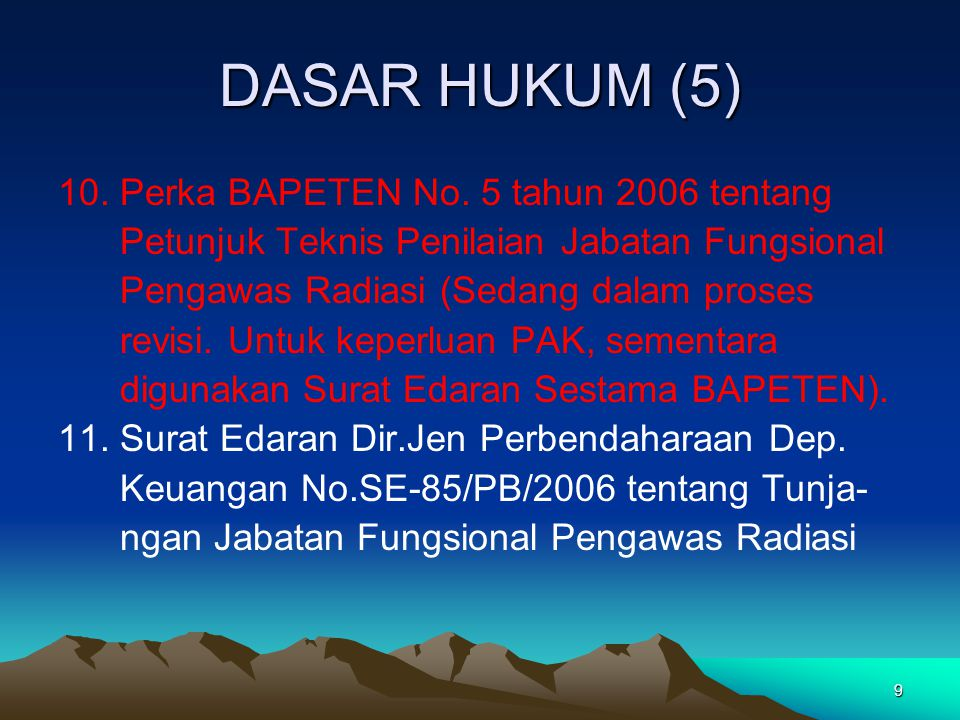DASAR HUKUM (5) 10. Perka BAPETEN No. 5 tahun 2006 tentang