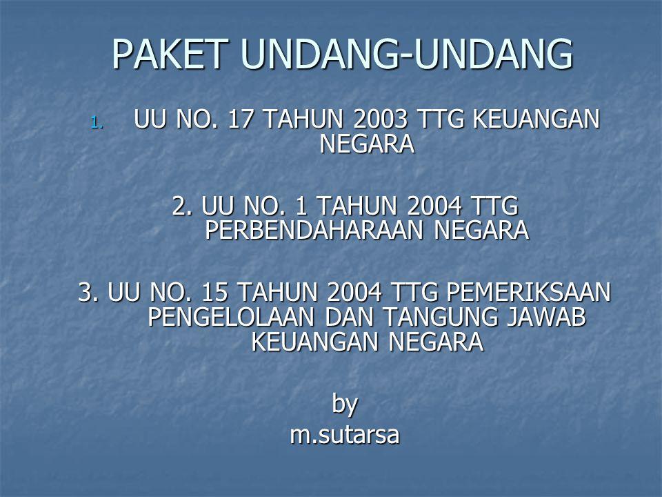 PAKET UNDANG-UNDANG UU NO. 17 TAHUN 2003 TTG KEUANGAN NEGARA