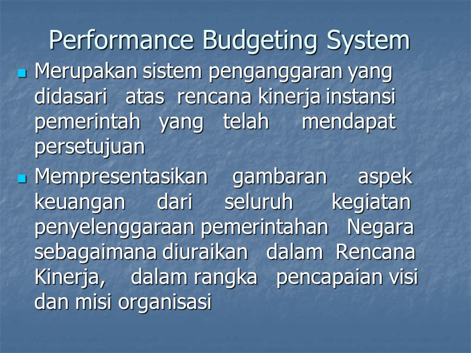 Performance Budgeting System